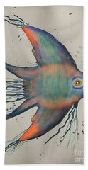 Hand Towel featuring the mixed media Neon Blue Fish by Walt Foegelle