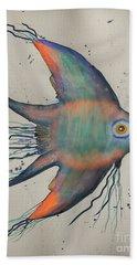 Bath Towel featuring the mixed media Neon Blue Fish by Walt Foegelle