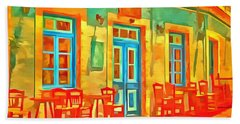 Bath Towel featuring the painting neon Cafe by Harry Warrick