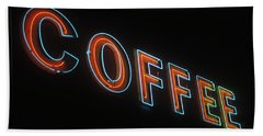 Hand Towel featuring the photograph Neon Coffee by Jim and Emily Bush