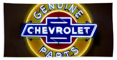 Neon Genuine Chevrolet Parts Sign Bath Towel