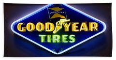 Neon Goodyear Tires Sign Hand Towel