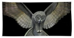 Hand Towel featuring the digital art Neon Owl by Rand Herron
