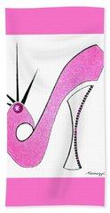 Neon Pink Stiletto Bath Towel