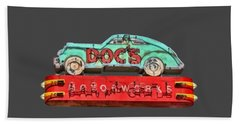 Neon Sign Docs Austin Texas Tee Bath Towel