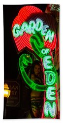 Neon Sign Garden Of Eden Bath Towel