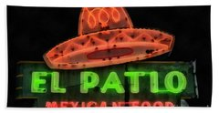 Bath Towel featuring the painting Neon Sign Series Mexican Food Austin Texas by Edward Fielding