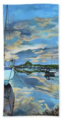 Nestled In For The Night At Mylor Bridge - Cornwall Uk - Sailboat  Bath Towel