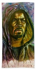 Hand Towel featuring the painting  Netflix Luke Cage by Darryl Matthews