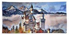 Hand Towel featuring the digital art Neuschwanstein Castle by Pennie McCracken