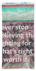 Never Give Up, Never Give In Hand Towel by Kathryn Cloniger-Kirk