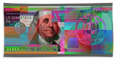 New 2009 Series Pop Art Colorized Us One Hundred Dollar Bill  No. 3 Bath Towel by Serge Averbukh