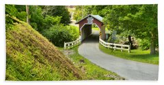 New Baltimore Covered Bridge Through The Forest Hand Towel