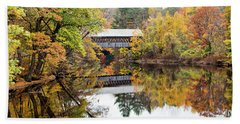 New England Covered Bridge No.63 Bath Towel by Betty Pauwels