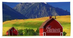 Hand Towel featuring the photograph New England Patriots Barn by Movie Poster Prints