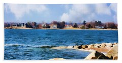 New England Shoreline - Painterly Bath Towel by Judy Palkimas