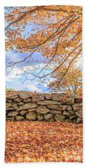 New England Stone Wall With Fall Foliage Hand Towel