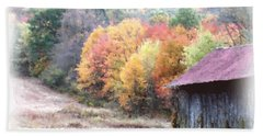 New England Tobacco Barn In Watercolor Bath Towel