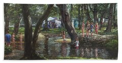Bath Towel featuring the painting New Forest Camping Fun by Martin Davey