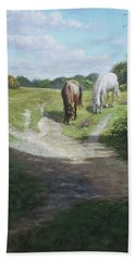 New Forest Horses With Light And Shade  Hand Towel