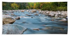 New Hampshire Swift River And Fall Foliage In Autumn Bath Towel by Ranjay Mitra