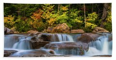 New Hampshire White Mountains Swift River Waterfall In Autumn With Fall Foliage Hand Towel