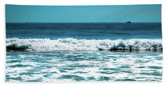 New Horizon - Blue Ocean Bath Towel by Colleen Kammerer