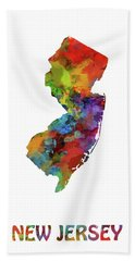 New Jersey Map Watercolor Hand Towel