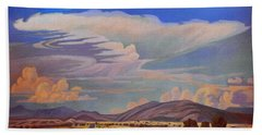 Bath Towel featuring the painting New Mexico Cloud Patterns by Art James West