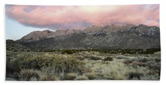 Bath Towel featuring the photograph New Mexico Sandia Mountains Foothills Sunset Landscape by Andrea Hazel Ihlefeld