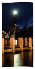New Moon At Hillsboro Inlet Lighthouse Bath Towel