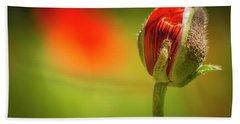 New Orange Poppy Bloom Hand Towel