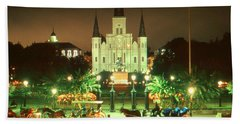 New Orleans Night Glow - Photo Art Bath Towel by Art America Gallery Peter Potter