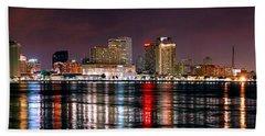 New Orleans Skyline At Night Bath Towel