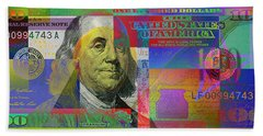 New Pop-colorized One Hundred Us Dollar Bill Bath Towel by Serge Averbukh