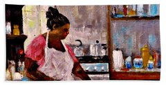 Hand Towel featuring the painting New Recipe.. by Cristina Mihailescu