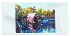 Bath Towel featuring the painting New River Boathouse by Jim Phillips