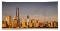 New World Trade Memorial Center And New York City Skyline Panorama Hand Towel