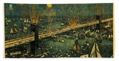 Bath Towel featuring the photograph New York And Brooklyn Bridge Opening Night Fireworks by John Stephens