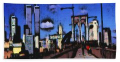 New York Blue - Modern Art Painting Hand Towel