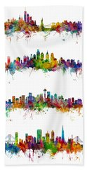 New York, Philadelphia, Seattle And San Francisco Skylines Hand Towel