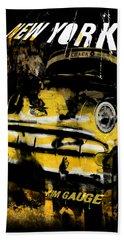 New York Cab Bath Towel by Kim Gauge
