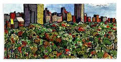 Bath Towel featuring the painting New York Central Park by Terry Banderas
