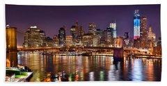 New York City Brooklyn Bridge And Lower Manhattan At Night Nyc Bath Towel