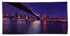 Hand Towel featuring the digital art New York City Brooklyn Bridge by PixBreak Art