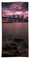 New York City Brooklyn Bridge Sunset Hand Towel