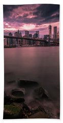 Bath Towel featuring the photograph New York City Brooklyn Bridge Sunset by Ranjay Mitra