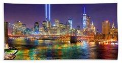 New York City Brooklyn Bridge Tribute In Lights Freedom Tower World Trade Center Wtc Manhattan Nyc Hand Towel