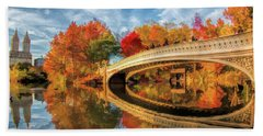 Bath Towel featuring the painting New York City Central Park Bow Bridge by Christopher Arndt