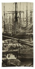 New York City Docks - 1800s Hand Towel